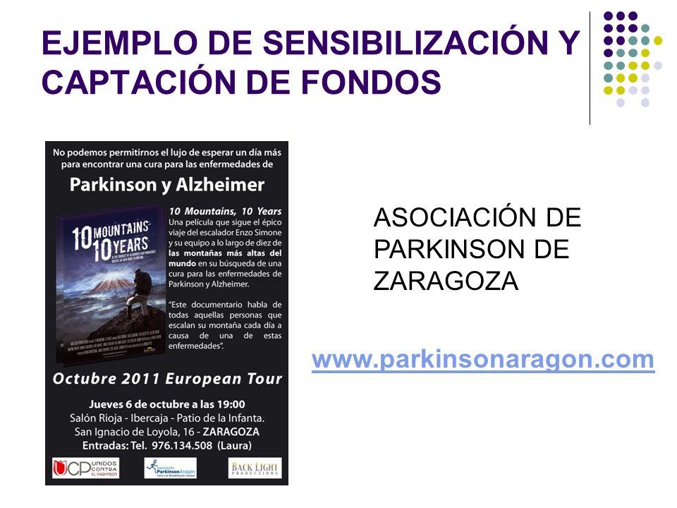 EJEMPLO DE SENSIBILIZACIÓN Y CAPTACIÓN DE FONDOS ASOCIACIÓN DE PARKINSON DE ZARAGOZA www.parkinsonaragon.com