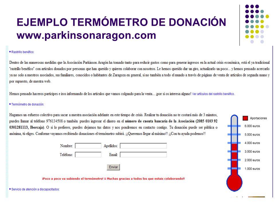 EJEMPLO TERMÓMETRO DE DONACIÓN www.parkinsonaragon.com