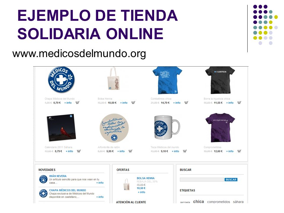 EJEMPLO DE TIENDA SOLIDARIA ONLINE www.medicosdelmundo.org