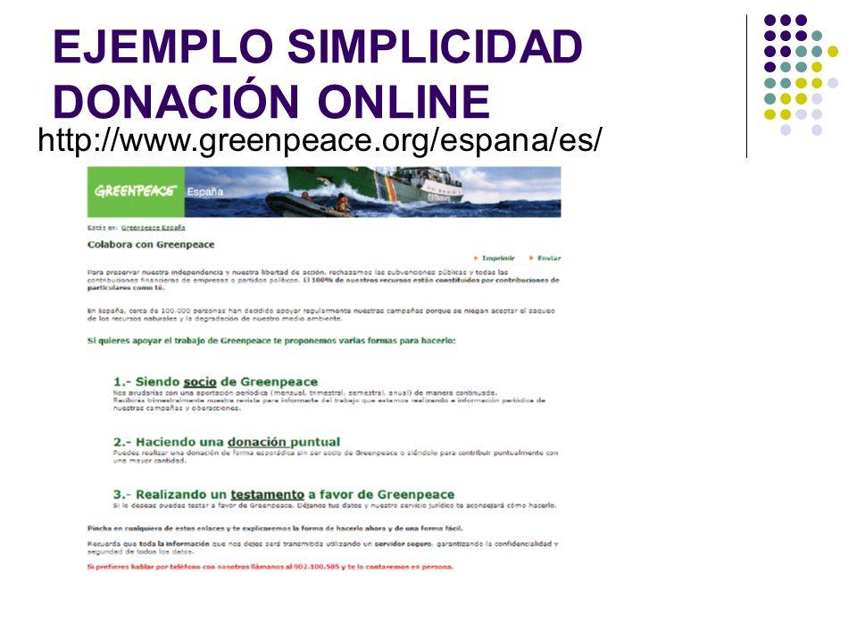 EJEMPLO SIMPLICIDAD DONACIÓN ONLINE http://www.greenpeace.org/espana/es/