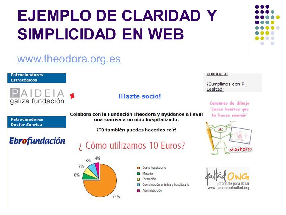 EJEMPLO DE CLARIDAD Y SIMPLICIDAD EN WEB www.theodora.org.es