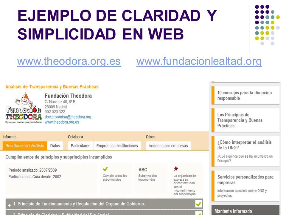 EJEMPLO DE CLARIDAD Y SIMPLICIDAD EN WEB www.theodora.org.eswww.fundacionlealtad.org