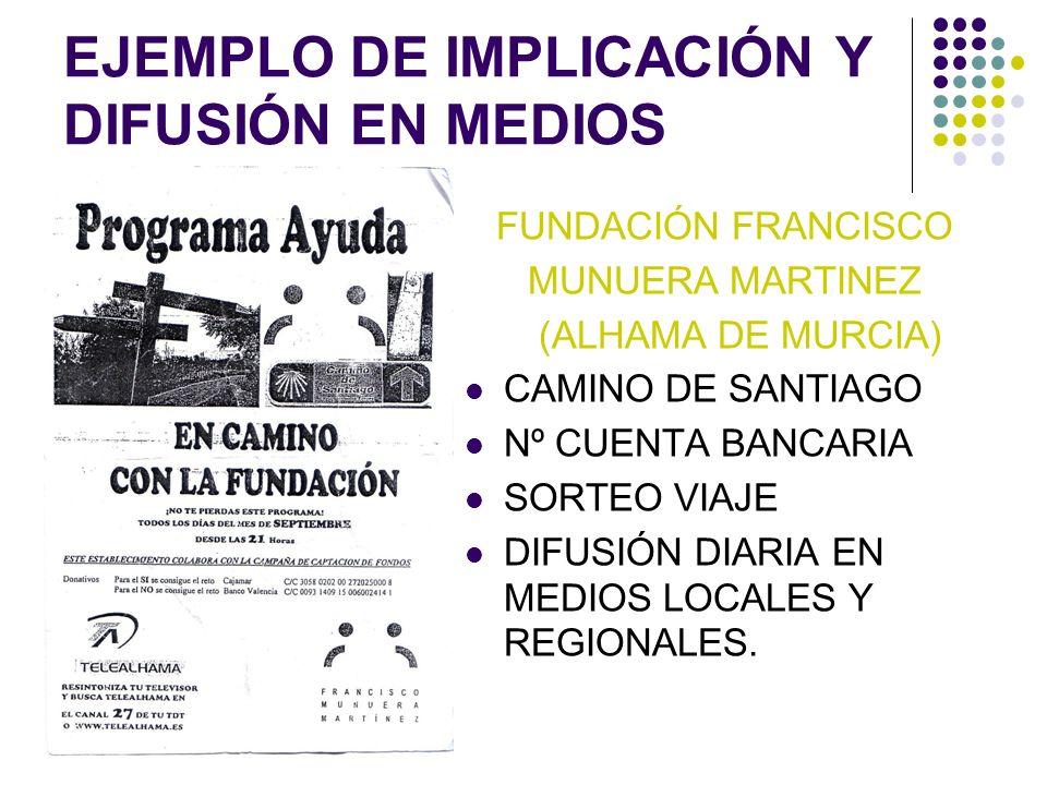 EJEMPLO DE IMPLICACIÓN Y DIFUSIÓN EN MEDIOS FUNDACIÓN FRANCISCO MUNUERA MARTINEZ (ALHAMA DE MURCIA) CAMINO DE SANTIAGO Nº CUENTA BANCARIA SORTEO VIAJE
