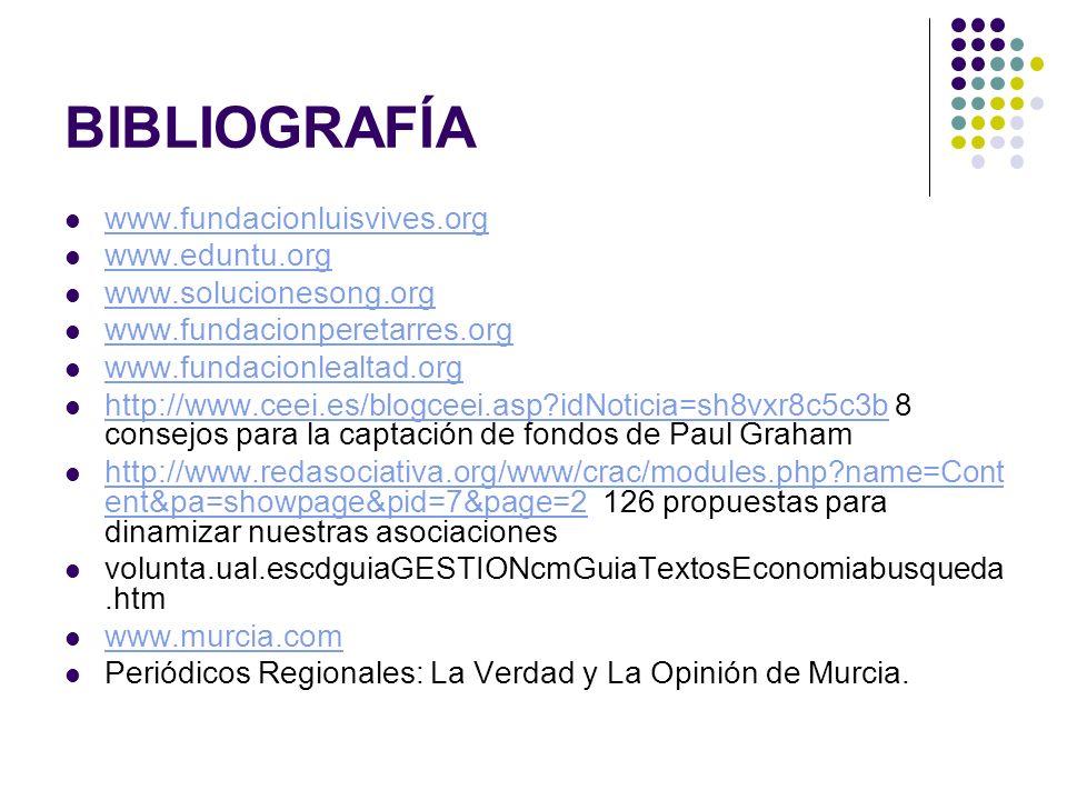 BIBLIOGRAFÍA www.fundacionluisvives.org www.eduntu.org www.solucionesong.org www.fundacionperetarres.org www.fundacionlealtad.org http://www.ceei.es/b