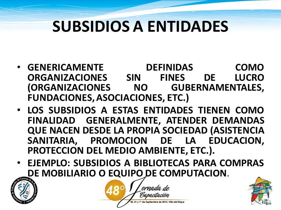 SUBSIDIOS A ENTIDADES GENERICAMENTE DEFINIDAS COMO ORGANIZACIONES SIN FINES DE LUCRO (ORGANIZACIONES NO GUBERNAMENTALES, FUNDACIONES, ASOCIACIONES, ET