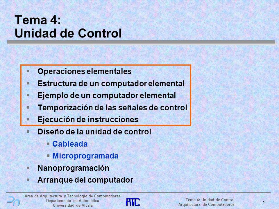 Área de Arquitectura y Tecnología de Computadores Departamento de Automática Universidad de Alcalá 22 Tema 4: Unidad de Control Arquitectura de Computadores Ejecución de instrucciones (II) Ejecución de SUB D, [E + 1234h] (II) Bus de Datos Bus de Direcciones Memoria Principal Ldir Reg Dir Wr Mem Rd Buffer Bidireccional Mux.
