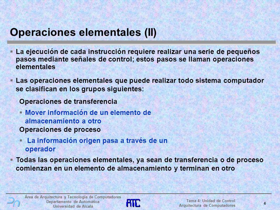 Área de Arquitectura y Tecnología de Computadores Departamento de Automática Universidad de Alcalá 5 Tema 4: Unidad de Control Arquitectura de Computadores TA Registro ARegistro BRegistro C LALB LC TB TC Bus de Datos Operaciones elementales (III) Operación elemental de transferencia Operación de transferencia: MOV RegB, RegA Volcar el contenido del Registro A al Bus de Datos Cargar el contenido del Bus de Datos en Registro B reloj Ta La Tb Lb Tc Lc Registro A TA LB Registro B