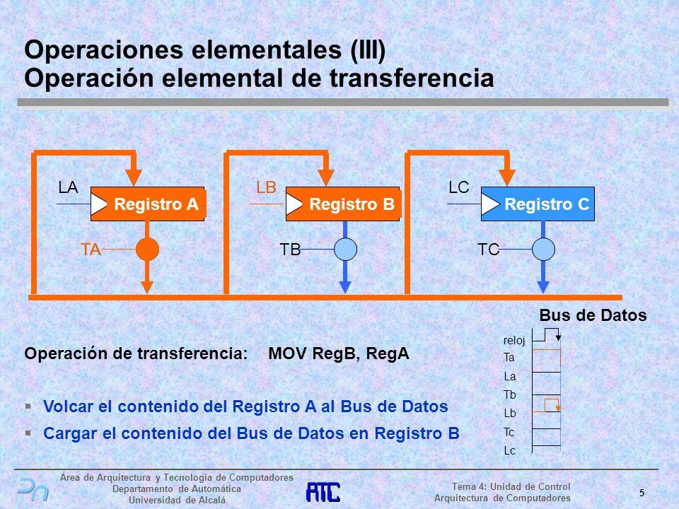 Área de Arquitectura y Tecnología de Computadores Departamento de Automática Universidad de Alcalá 6 Tema 4: Unidad de Control Arquitectura de Computadores SelOp Registro ARegistro B Registro C LALB LC TC Bus de Datos ALU Operaciones elementales (IV) Operación elemental de proceso Operación de proceso: XOR RC, RA, RB Llevar el Registro A a la ALU Llevar el Registro B a la ALU Escoger la operación XOR Cargar el resultado en el Registro C ALU SelOp Registro A LA Registro B LB SelOp reloj La Lb Tc Lc LC Registro C Xor