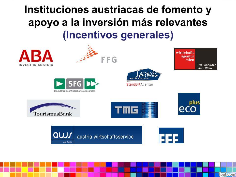 Instituciones austriacas de fomento y apoyo a la inversión más relevantes (Incentivos generales)