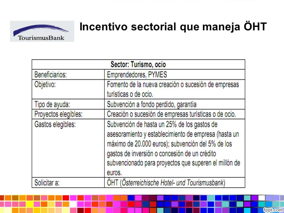Incentivo sectorial que maneja ÖHT