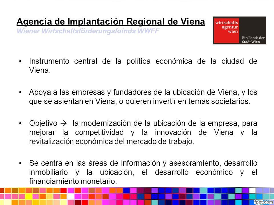 Agencia de Implantación Regional de Viena Wiener Wirtschaftsförderungsfoinds WWFF Instrumento central de la política económica de la ciudad de Viena.