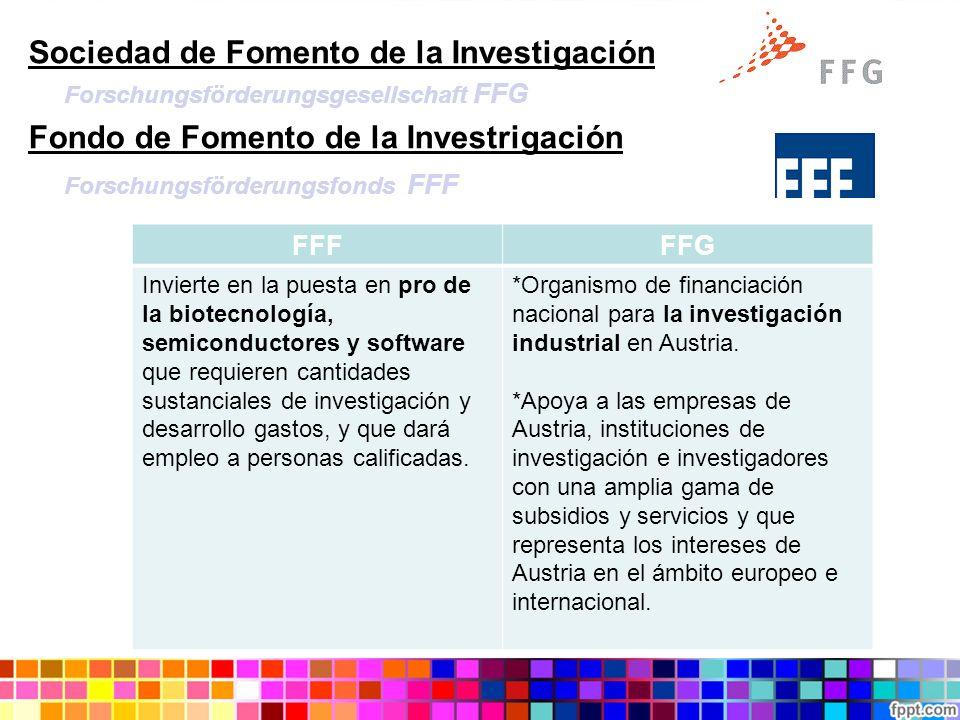 Sociedad de Fomento de la Investigación Forschungsförderungsgesellschaft FFG Fondo de Fomento de la Investrigación Forschungsförderungsfonds FFF FFFFF