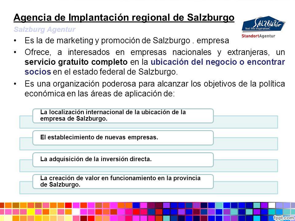 Agencia de Implantación regional de Salzburgo Salzburg Agentur Es la de marketing y promoción de Salzburgo. empresa Ofrece, a interesados en empresas