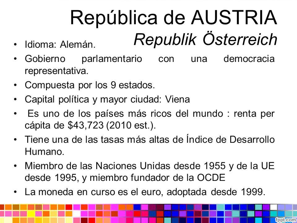 República de AUSTRIA Republik Österreich Idioma: Alemán. Gobierno parlamentario con una democracia representativa. Compuesta por los 9 estados. Capita