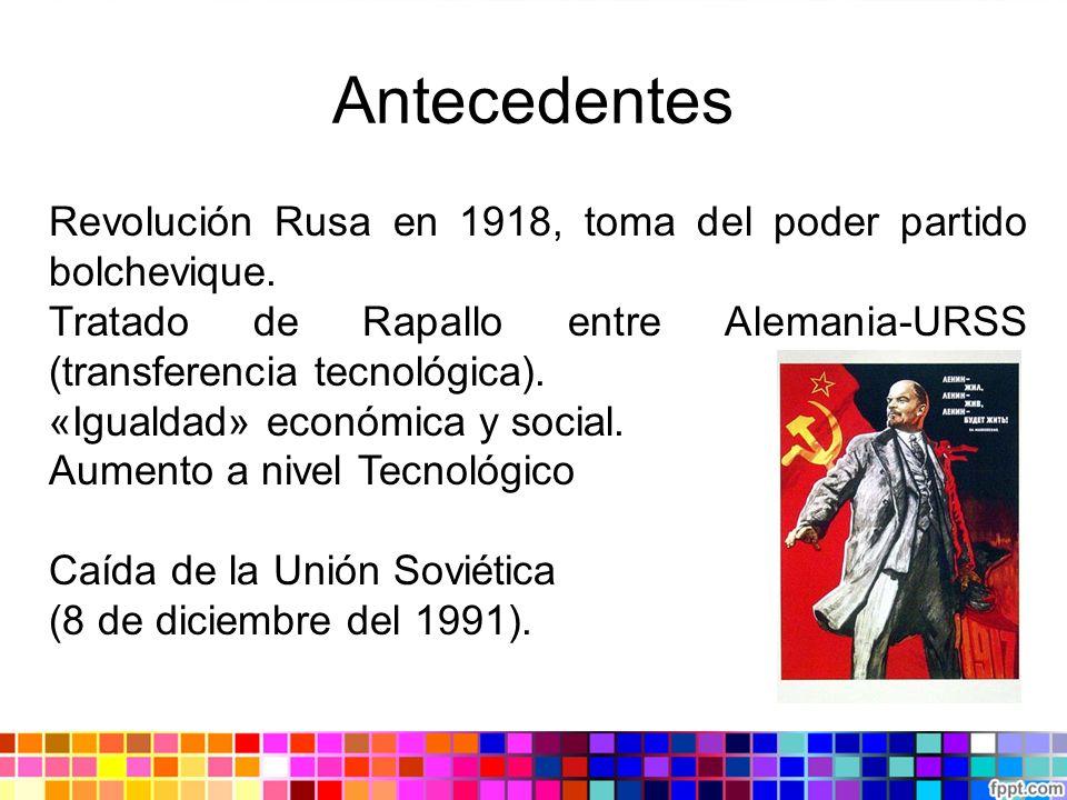 Antecedentes Revolución Rusa en 1918, toma del poder partido bolchevique. Tratado de Rapallo entre Alemania-URSS (transferencia tecnológica). «Igualda