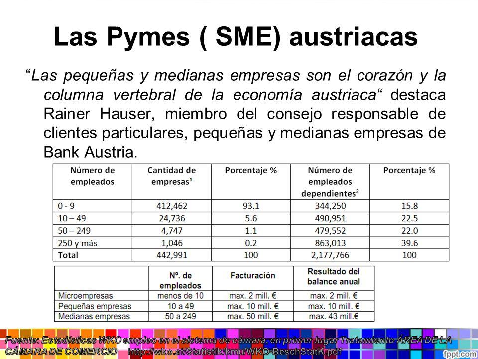 Las Pymes ( SME) austriacas Las pequeñas y medianas empresas son el corazón y la columna vertebral de la economía austriaca destaca Rainer Hauser, mie