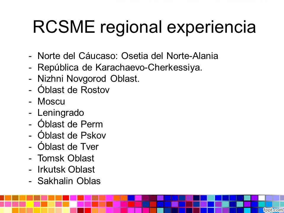 RCSME regional experiencia -Norte del Cáucaso: Osetia del Norte-Alania -República de Karachaevo-Cherkessiya. -Nizhni Novgorod Oblast. -Óblast de Rosto