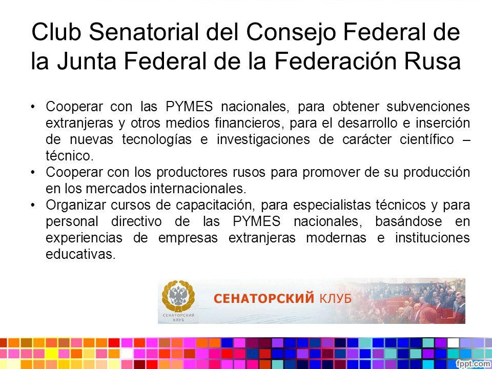 Club Senatorial del Consejo Federal de la Junta Federal de la Federación Rusa Cooperar con las PYMES nacionales, para obtener subvenciones extranjeras