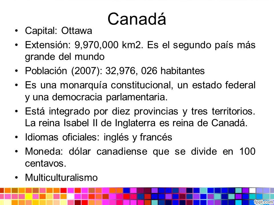 Canadá Capital: Ottawa Extensión: 9,970,000 km2. Es el segundo país más grande del mundo Población (2007): 32,976, 026 habitantes Es una monarquía con