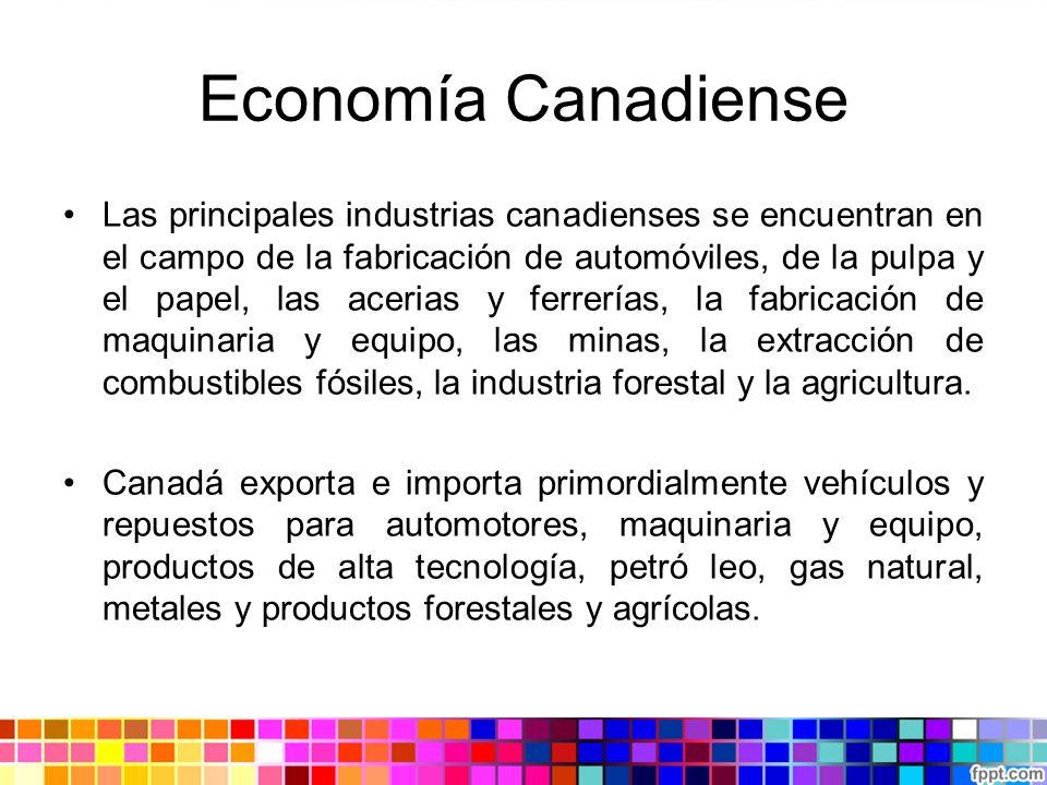 Economía Canadiense Las principales industrias canadienses se encuentran en el campo de la fabricación de automóviles, de la pulpa y el papel, las ace