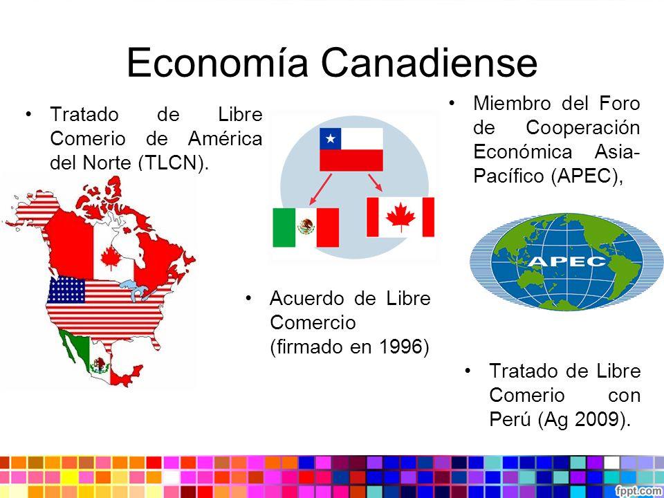 Economía Canadiense Tratado de Libre Comerio de América del Norte (TLCN). Acuerdo de Libre Comercio (firmado en 1996) Miembro del Foro de Cooperación