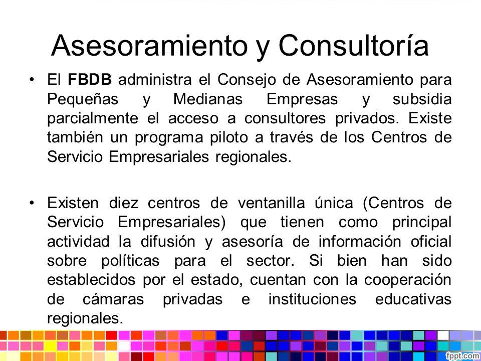 Asesoramiento y Consultoría El FBDB administra el Consejo de Asesoramiento para Pequeñas y Medianas Empresas y subsidia parcialmente el acceso a consu