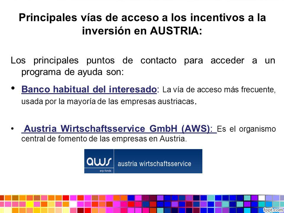 Principales vías de acceso a los incentivos a la inversión en AUSTRIA: Los principales puntos de contacto para acceder a un programa de ayuda son: Ban