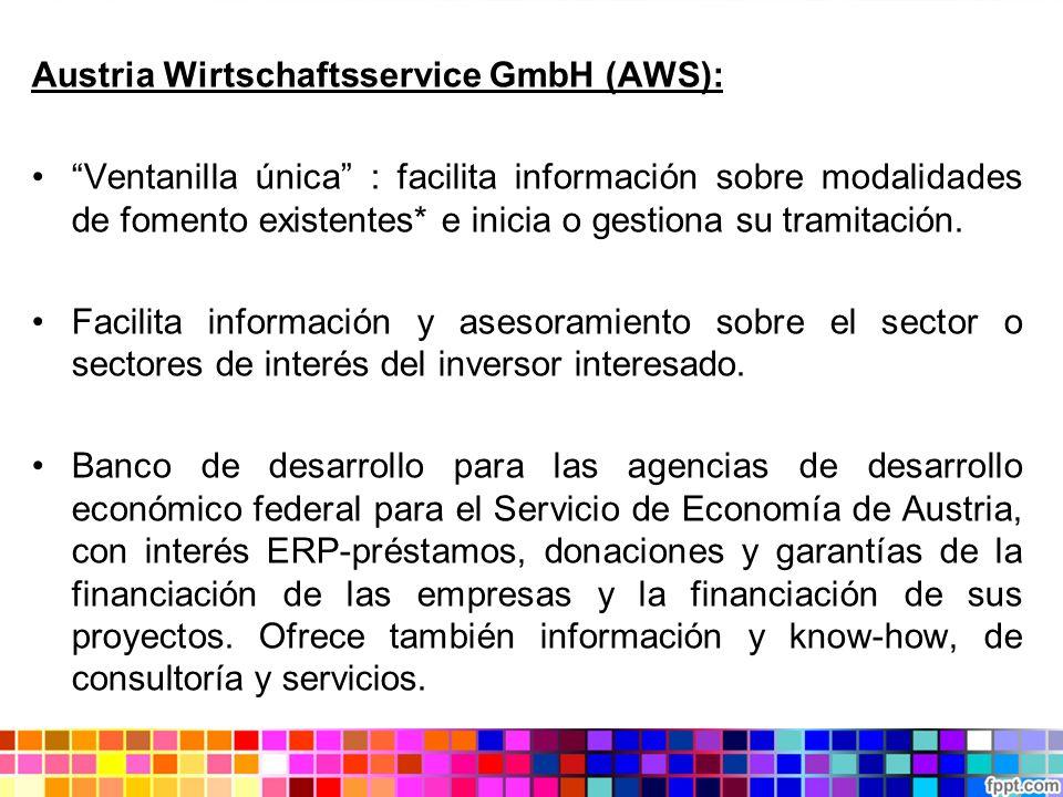 Austria Wirtschaftsservice GmbH (AWS): Ventanilla única : facilita información sobre modalidades de fomento existentes* e inicia o gestiona su tramita