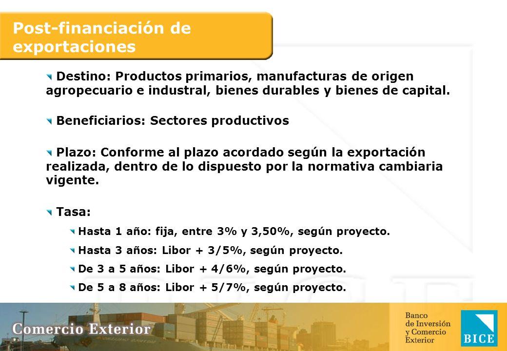 Post-financiación de exportaciones Destino: Productos primarios, manufacturas de origen agropecuario e industral, bienes durables y bienes de capital.