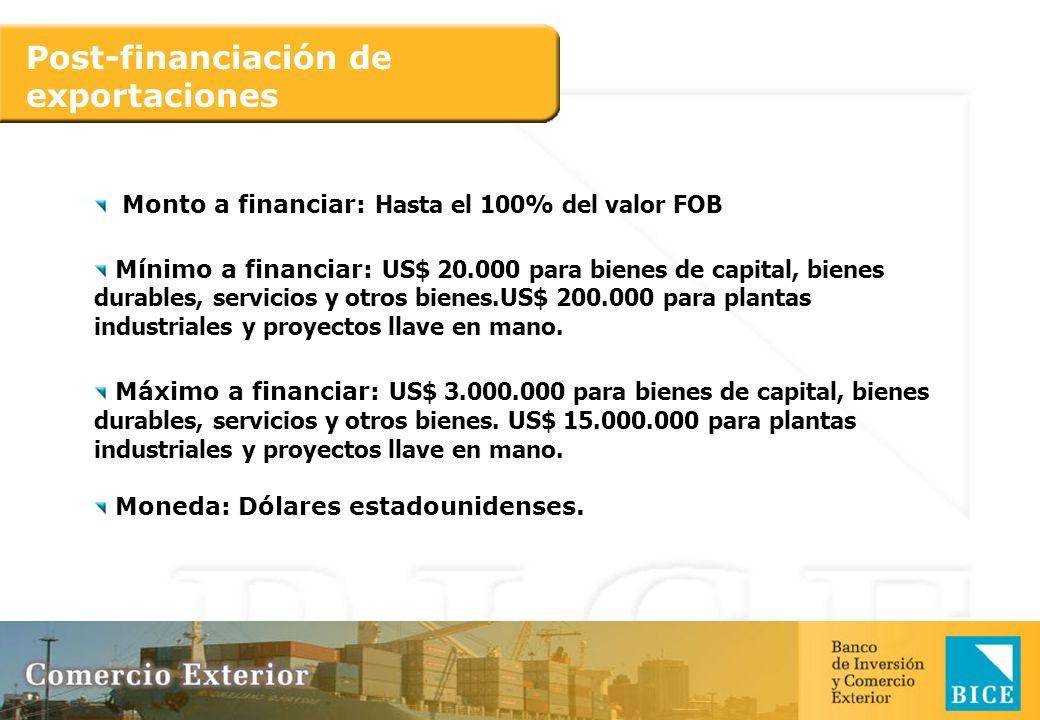 Post-financiación de exportaciones Monto a financiar: Hasta el 100% del valor FOB Mínimo a financiar: US$ 20.000 para bienes de capital, bienes durabl