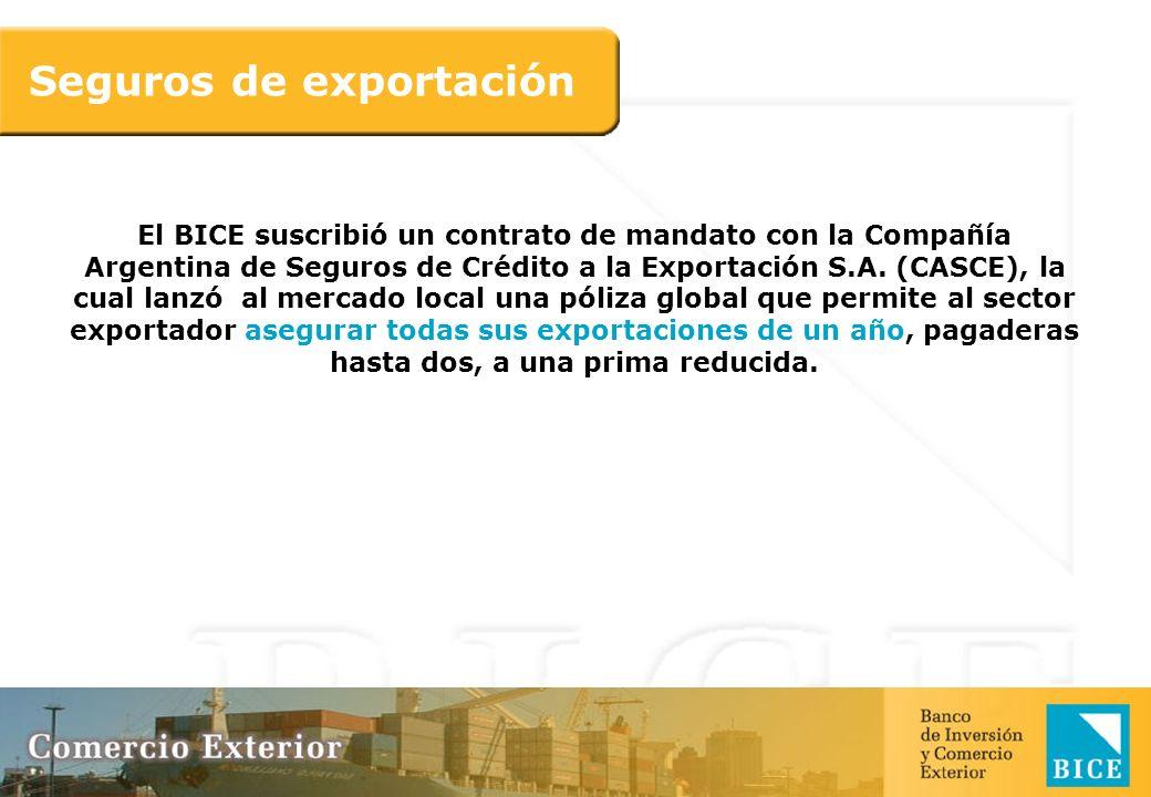 El BICE suscribió un contrato de mandato con la Compañía Argentina de Seguros de Crédito a la Exportación S.A. (CASCE), la cual lanzó al mercado local