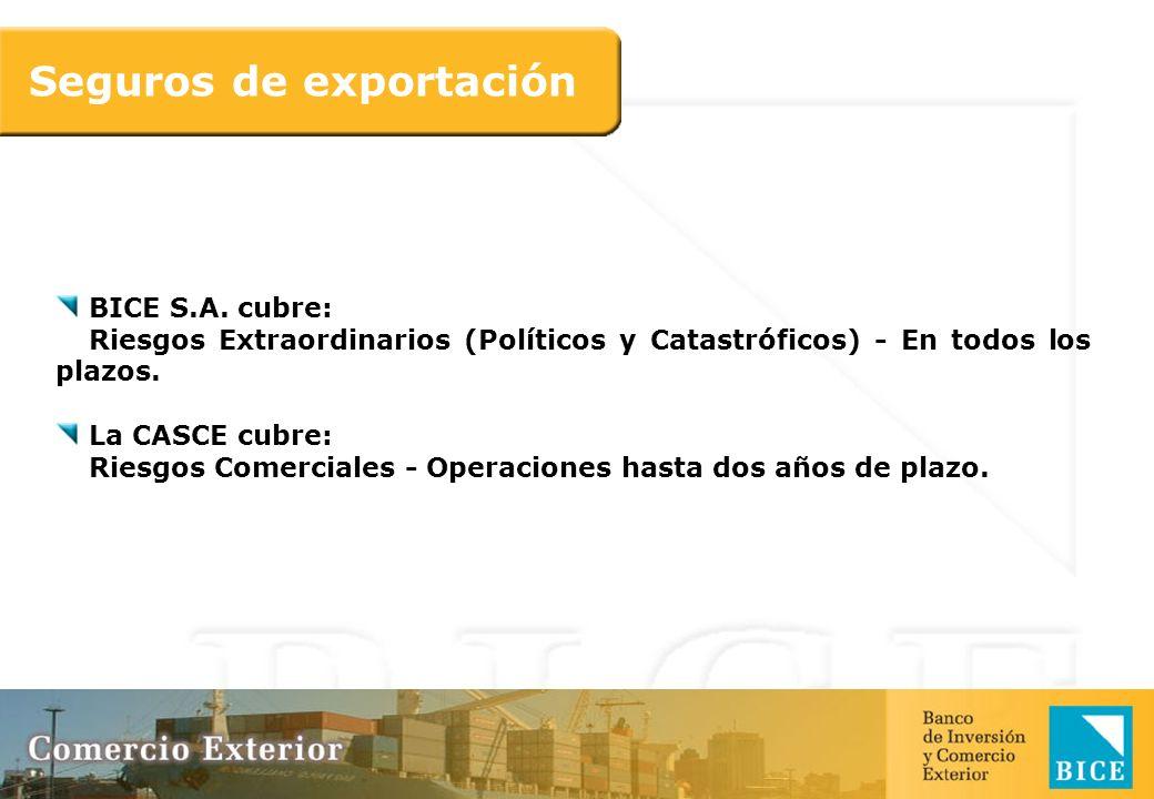 BICE S.A. cubre: Riesgos Extraordinarios (Políticos y Catastróficos) - En todos los plazos. La CASCE cubre: Riesgos Comerciales - Operaciones hasta do