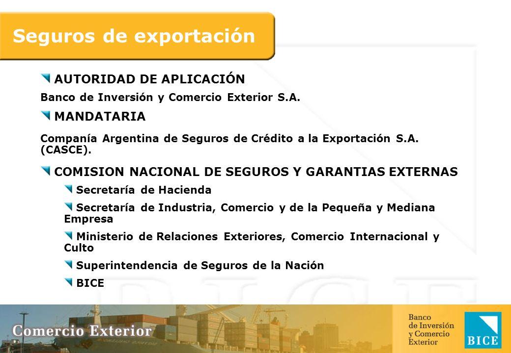 Seguros de exportación AUTORIDAD DE APLICACIÓN Banco de Inversión y Comercio Exterior S.A. MANDATARIA Companía Argentina de Seguros de Crédito a la Ex