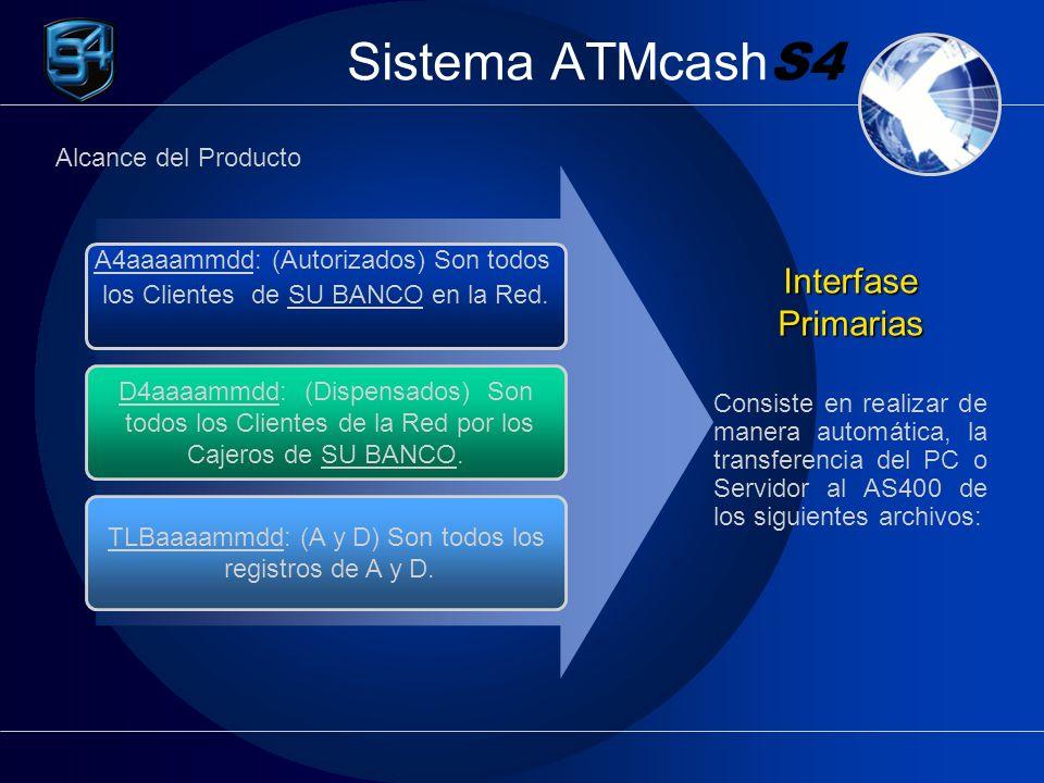 Sistema ATMcash S4 A4aaaammdd: (Autorizados) Son todos los Clientes de SU BANCO en la Red. D4aaaammdd: (Dispensados) Son todos los Clientes de la Red