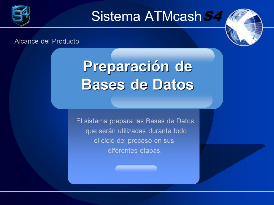 Sistema ATMcash S4 El sistema prepara las Bases de Datos que serán utilizadas durante todo el ciclo del proceso en sus diferentes etapas. Preparación