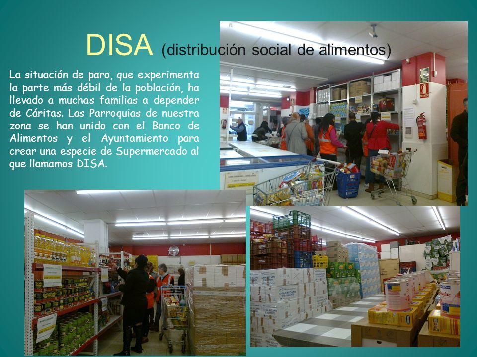 DISA (distribución social de alimentos) La situación de paro, que experimenta la parte más débil de la población, ha llevado a muchas familias a depen