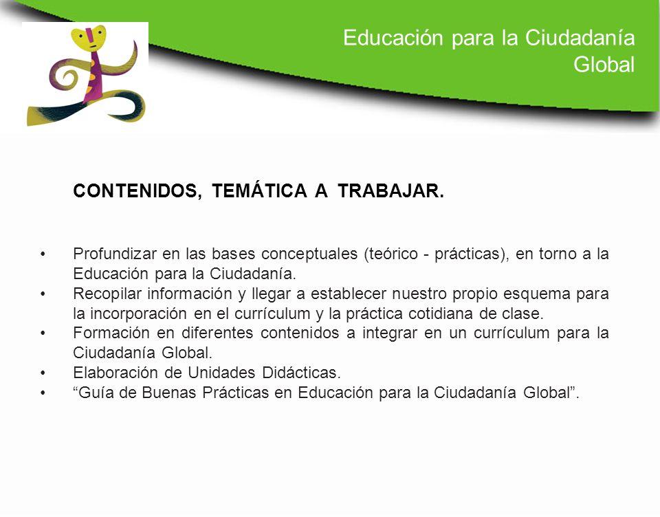 Profundizar en las bases conceptuales (teórico - prácticas), en torno a la Educación para la Ciudadanía. Recopilar información y llegar a establecer n