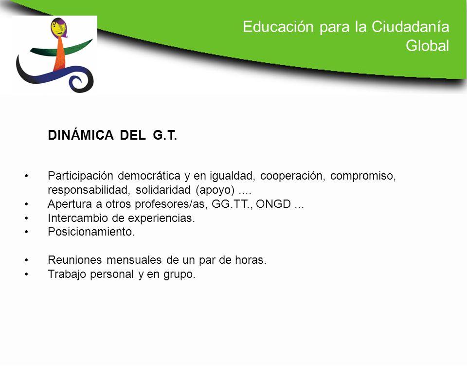 Participación democrática y en igualdad, cooperación, compromiso, responsabilidad, solidaridad (apoyo).... Apertura a otros profesores/as, GG.TT., ONG