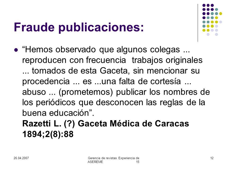 26.04.2007Gerencia de revistas.