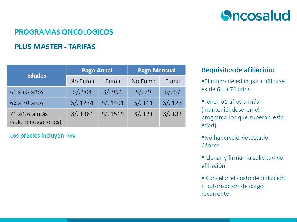 PROGRAMAS ONCOLOGICOS PLUS MASTER - TARIFAS Los precios incluyen IGV Edades Pago AnualPago Mensual No FumaFumaNo FumaFuma 61 a 65 añosS/. 904S/. 994S/