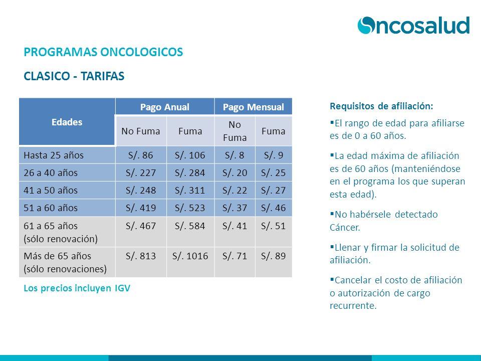 PROGRAMAS ONCOLOGICOS CLASICO - TARIFAS Los precios incluyen IGV Requisitos de afiliación: El rango de edad para afiliarse es de 0 a 60 años. La edad
