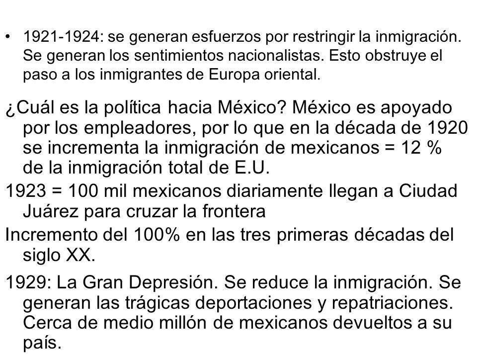 1921-1924: se generan esfuerzos por restringir la inmigración. Se generan los sentimientos nacionalistas. Esto obstruye el paso a los inmigrantes de E