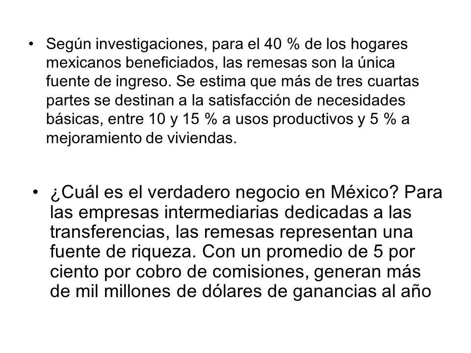 Según investigaciones, para el 40 % de los hogares mexicanos beneficiados, las remesas son la única fuente de ingreso. Se estima que más de tres cuart