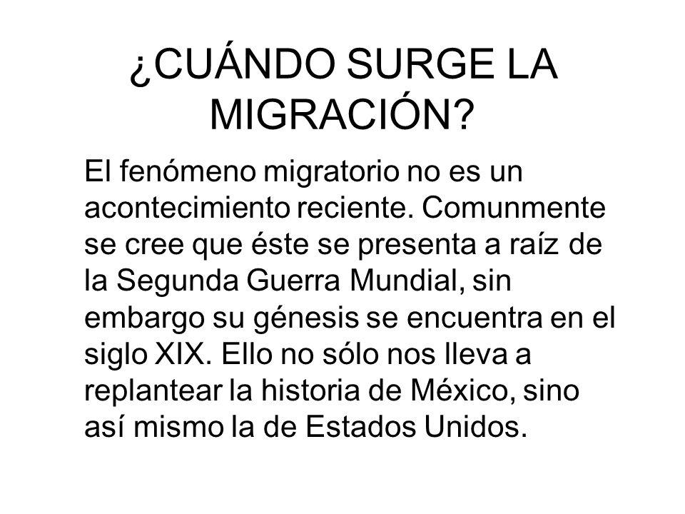 ¿CUÁNDO SURGE LA MIGRACIÓN? El fenómeno migratorio no es un acontecimiento reciente. Comunmente se cree que éste se presenta a raíz de la Segunda Guer
