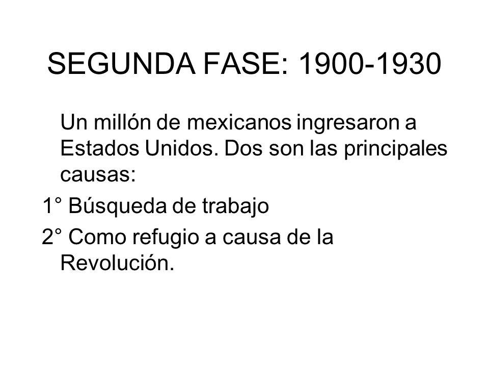 SEGUNDA FASE: 1900-1930 Un millón de mexicanos ingresaron a Estados Unidos. Dos son las principales causas: 1° Búsqueda de trabajo 2° Como refugio a c