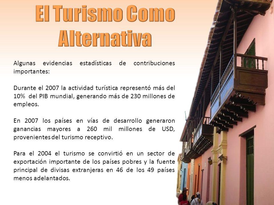 Algunas evidencias estadísticas de contribuciones importantes: Durante el 2007 la actividad turística representó más del 10% del PIB mundial, generando más de 230 millones de empleos.