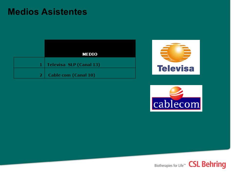 Medios Asistentes MEDIO 1Televisa SLP (Canal 13) 2 Cable com (Canal 10)