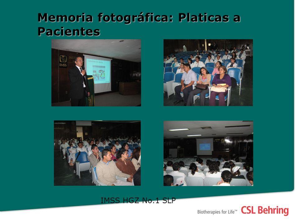 Memoria fotográfica: Platicas a Pacientes IMSS HGZ No.1 SLP