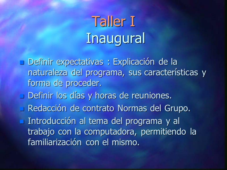 Taller I Inaugural n Definir expectativas : Explicación de la naturaleza del programa, sus características y forma de proceder. n Definir los días y h
