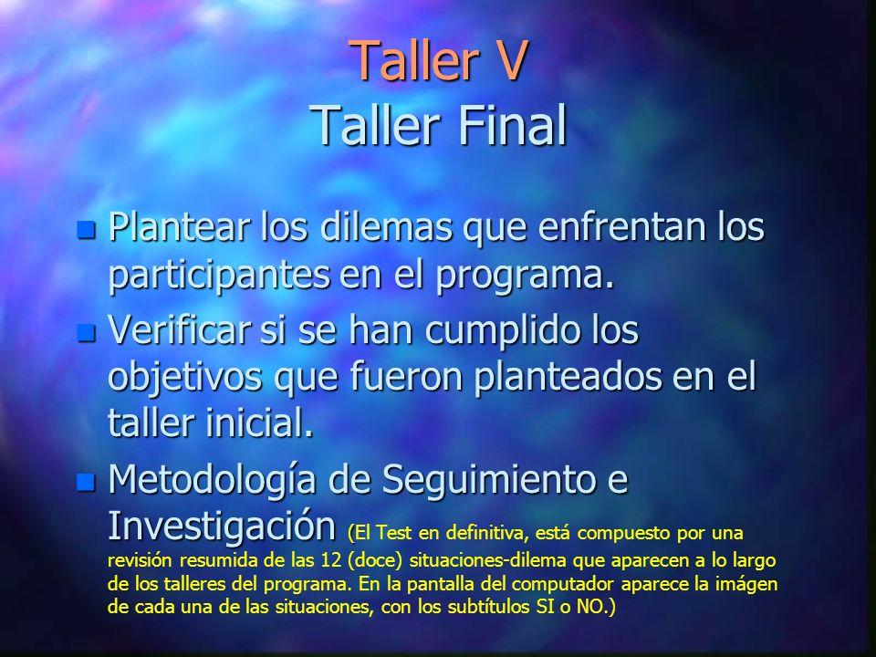 Taller V Taller Final n Plantear los dilemas que enfrentan los participantes en el programa. n Verificar si se han cumplido los objetivos que fueron p